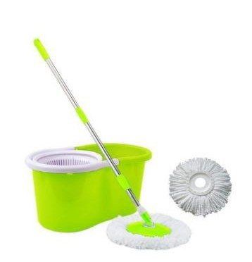 2-in-1 Foot Pedal and Handpress Spin Mop Set Green Bucket
