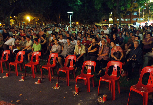 Mocking or filling up the front row seats at a Getai