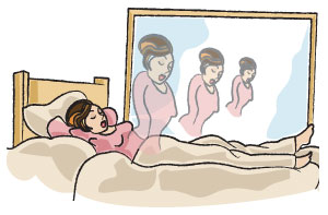 placing a mirror in front of your bed