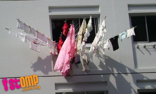 walk under hanging laundry