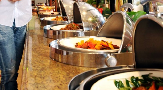 international buffet food spread